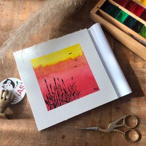 Sonnenuntergang Aquarell Karin Brushmarker