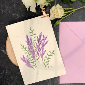 Karte Aquarell Lavendel