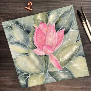 Aquarellbild Waterlilly